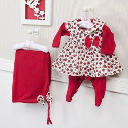 Saída Maternidade 03 Peças Feminina Joaninha Vermelho Prematuro