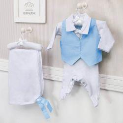 Saída Maternidade 03 Peças Masculino Poá Azul Prematuro
