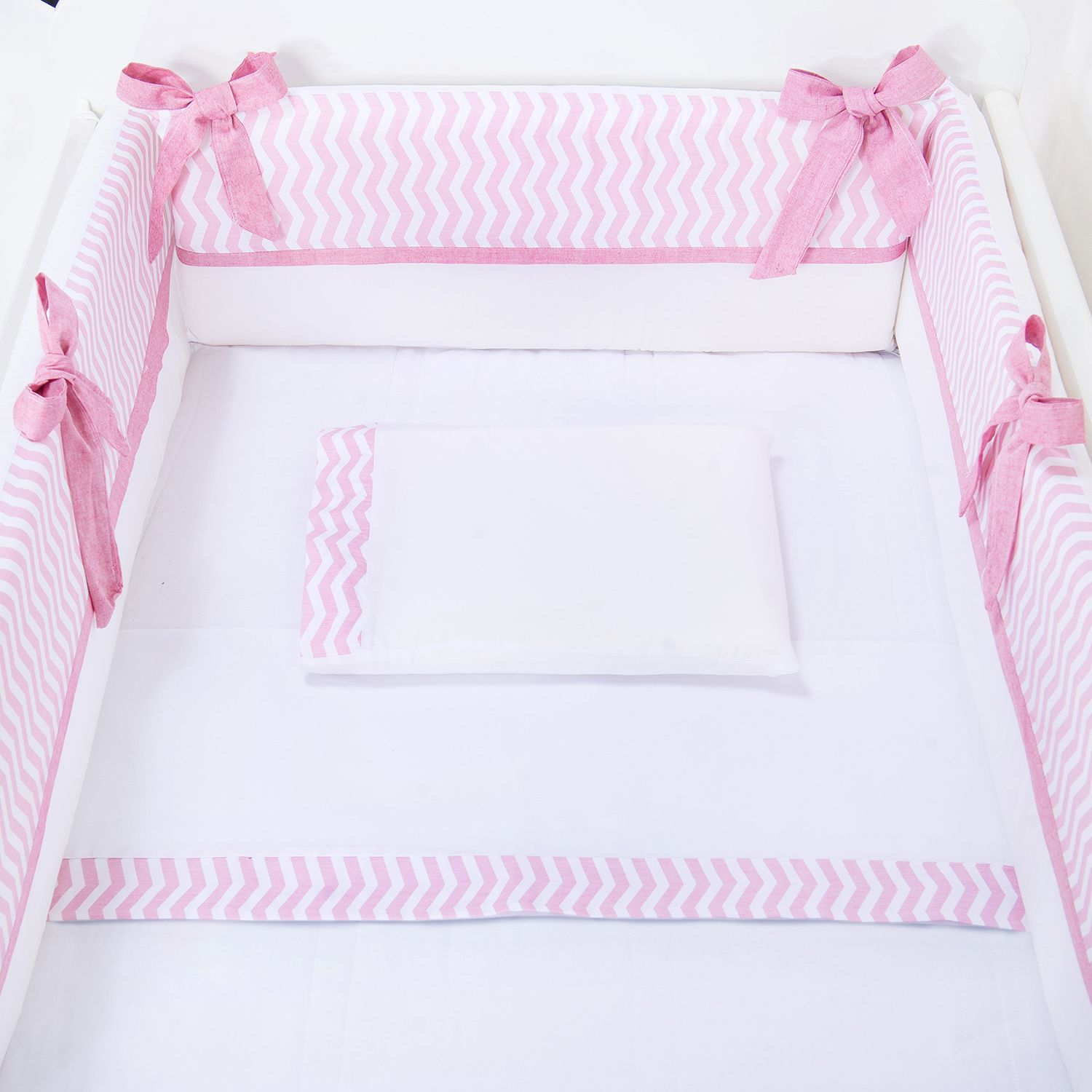 Kit Mini Berço Chevron Rosa