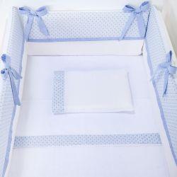 Kit Mini Berço Flor de Lys Azul Bebê