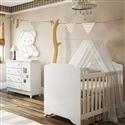 Quarto para Bebê Mel com Berço/Cômoda/Guarda Roupas de 3 Portas