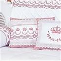 Almofada Decorativa Bordada Faixa Coroinhas Elegance Rosé