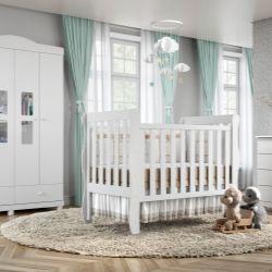 Quarto de Bebê Mila com Berço/Cômoda 1 Porta/Guarda-Roupa de 4 Portas
