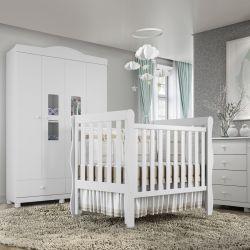 Quarto de Bebê Berço Branco + Cômoda com Porta + Guarda Roupa com 4 Portas Mila