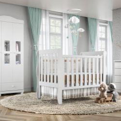 Quarto de Bebê Mila com Berço/Cômoda 1 Porta/Guarda-Roupa de 3 Portas