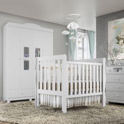 Quarto de Bebê Berço Branco + Cômoda + Guarda Roupa com 4 Portas Mila