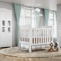 Quarto de Bebê Mila com Berço/Cômoda/Guarda Roupa de 3 Portas