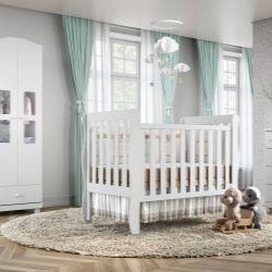 Quarto de Bebê Mila com Berço/Cômoda/Guarda-Roupa de 2 Portas
