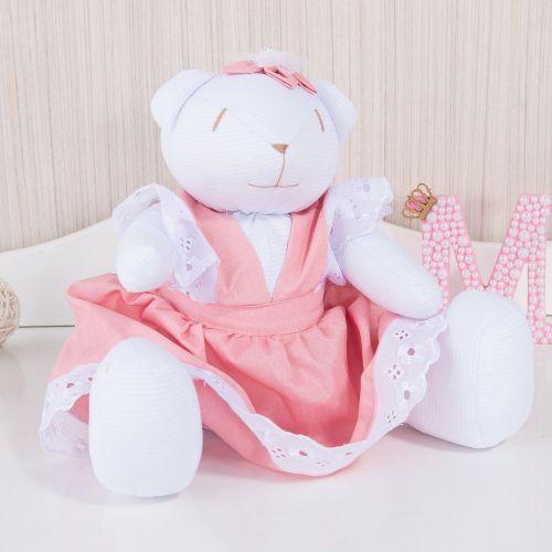 Ursa Linda Flor Rosê 34cm