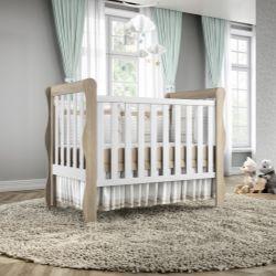 Quarto de Bebê Mila Amadeirado com Berço/Cômoda 1 Porta/Guarda-Roupa de 4 Portas