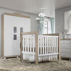 Quarto de Bebê Berço Madeira + Cômoda com Porta + Guarda Roupa com 4 Portas Mila