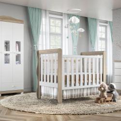 Quarto de Bebê Mila Amadeirado com Berço/Cômoda 1 Porta/Guarda-Roupa de 3 Portas