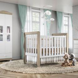 Quarto de Bebê Mila Amadeirado com Berço/Cômoda 1 Porta/Guarda-Roupa de 2 Portas