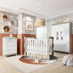 Quarto de Bebê Berço Madeira + Cômoda + Guarda Roupa 4 Portas Mila