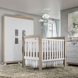 Quarto de Bebê Berço Madeira + Cômoda + Guarda Roupa com 4 Portas Mila