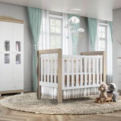 Quarto de Bebê Mila Amadeirado com Berço/Cômoda/Guarda-Roupa de 3 Portas