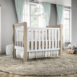 Quarto de Bebê Mila Amadeirado com Berço/Cômoda/Guarda-Roupa de 2 Portas
