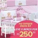 Kit Berço Ursa Baby Rosa + Berço Mila