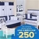 Quarto para Bebê sem Cama Babá Jeans + Berço Mila