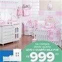 Quarto para Bebê sem Cama Babá Teddy Rosa + Quarto Mila