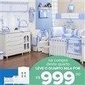 Quarto para Bebê sem Cama Babá Teddy Azul + Quarto Mila