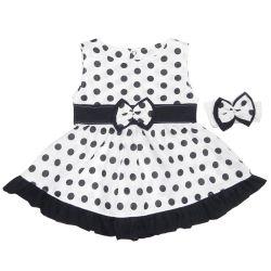 Vestido para Bebê Nina Branco Poá