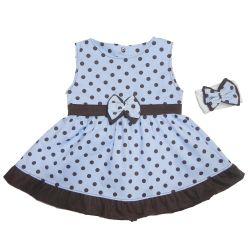 Vestido para Bebê Nina Azul Poá