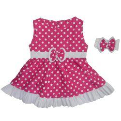 Vestido para Bebê Nina Pink Poá