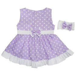Vestido para Bebê Nina Lilás Poá