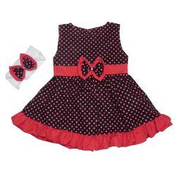 Vestido para Bebê Nina Preto Poá
