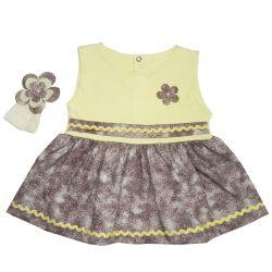 Vestido para Bebê Manu Amarelo e Marrom