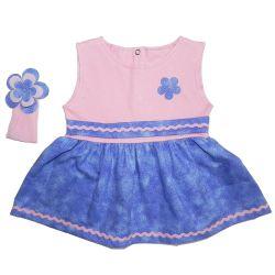 Vestido para Bebê Manu Rosa e Azul