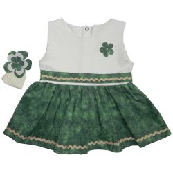 Vestido para Bebê Manu Palha e Verde