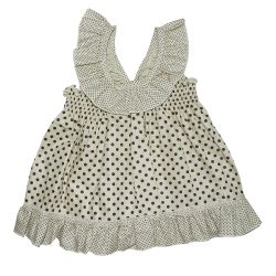 Vestido para Bebê Amelinha Palha Poá