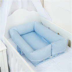 Ninho para Bebê Redutor de Berço Xadrez Azul