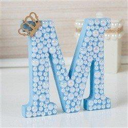 Letra em MDF Personalizada Azul com Pérolas