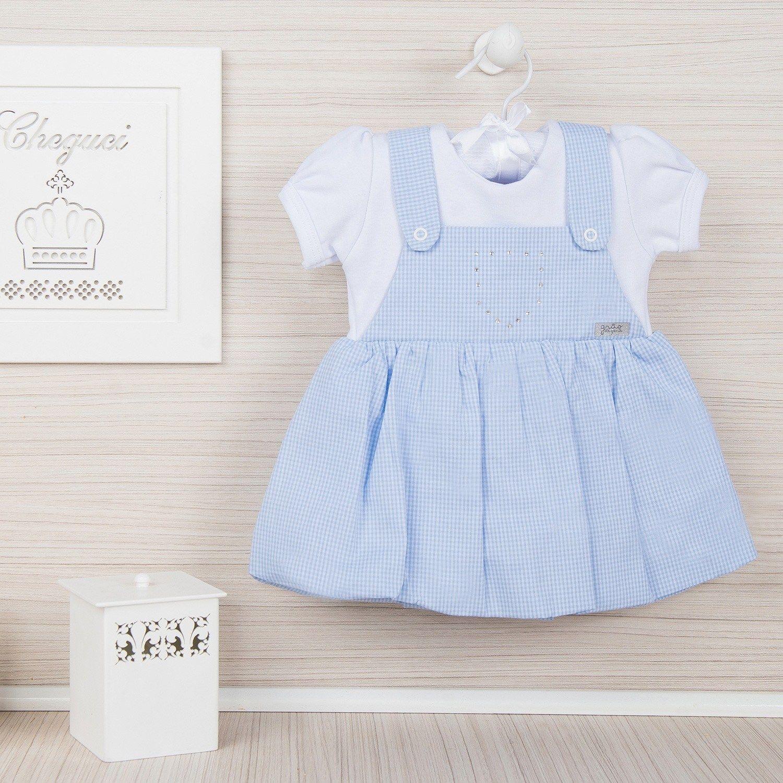 e6c6d2bbf Vestido Body Xadrez Azul Bebê 3 a 6 Meses