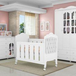 Quarto de Bebê Provence Branco Acetinado com Berço/Cômoda/Guarda-Roupa de 4 portas