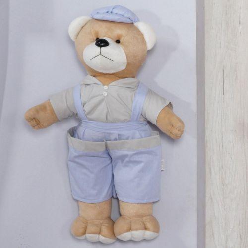 Porta Fraldas Urso Leo Azul