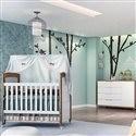 Quarto para Bebê Mari Amadeirado com Berço/Cômoda/Guarda Roupas de 4 Portas