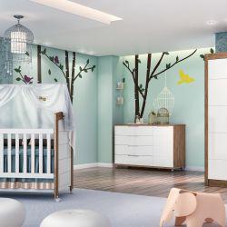 Quarto de Bebê Elegance Amadeirado com Berço/Cômoda/Guarda-Roupa de 4 Portas