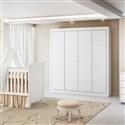 Quarto para Bebê Mari com Berço/Cômoda/Guarda Roupas de 4 Portas