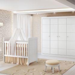 Quarto de Bebê Mari com Berço/Cômoda/Guarda-Roupa de 4 Portas