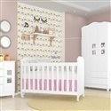 Quarto para Bebê Carol com Berço/Cômoda/Guarda Roupas de 3 Portas