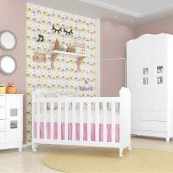 Quarto de Bebê Carol com Berço/Cômoda/Guarda-Roupa de 3 Portas