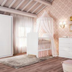 Quarto de Bebê Anne com Berço/Cômoda/Guarda-Roupa de 2 Portas