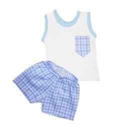 Conjunto Regata Branco e Short Xadrez Azul
