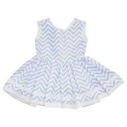 Vestido para Bebê Chevron Azul