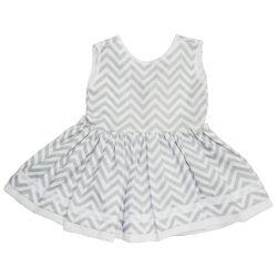 Vestido para Bebê Chevron Cinza