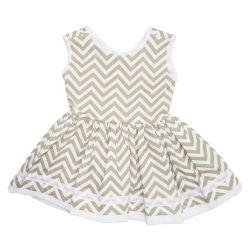 Vestido para Bebê Chevron Cáqui